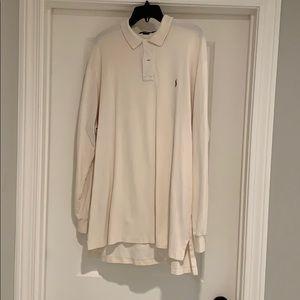 Cream long sleeve Ralph Lauren polo